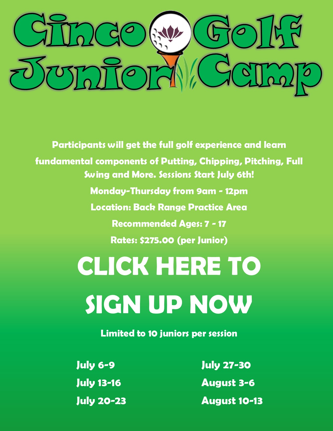 2020 JUNIOR GOLF CAMPS